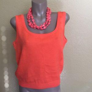 St. John Santana Orange Knit Tank Top ❤️ M